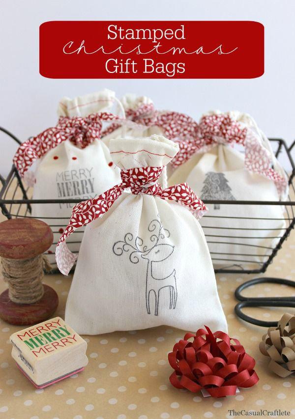 Bolsas tela regalos navidad estampadas con sellos