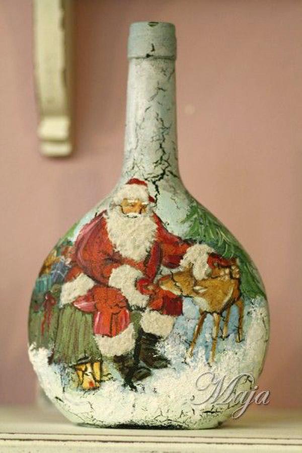 Botella forrada decoupage adorno navidad
