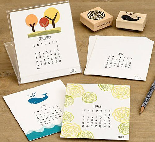 Calendario DIY estampar sellos