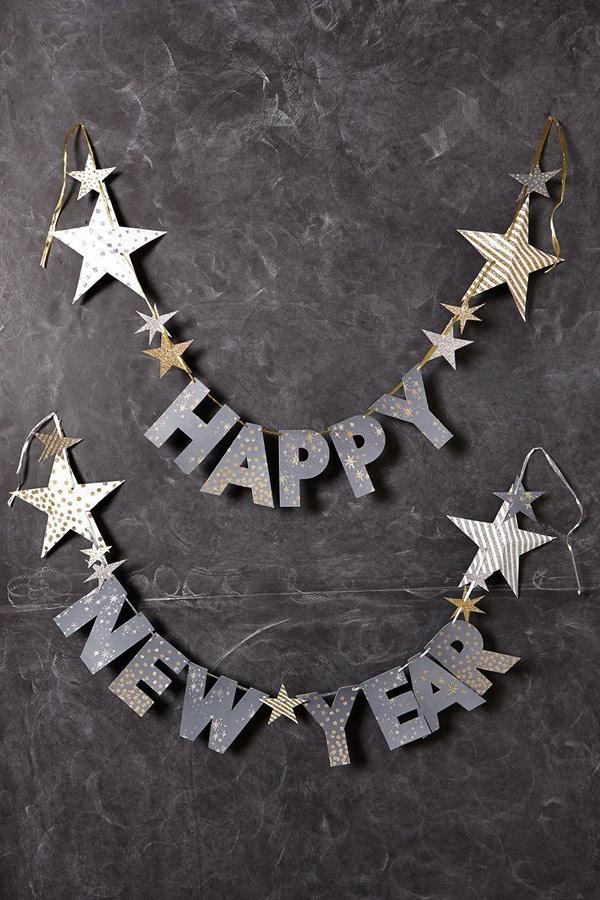 Ideas DIY para celebrar el año nuevo. Guirnalda DIY Happy New Year