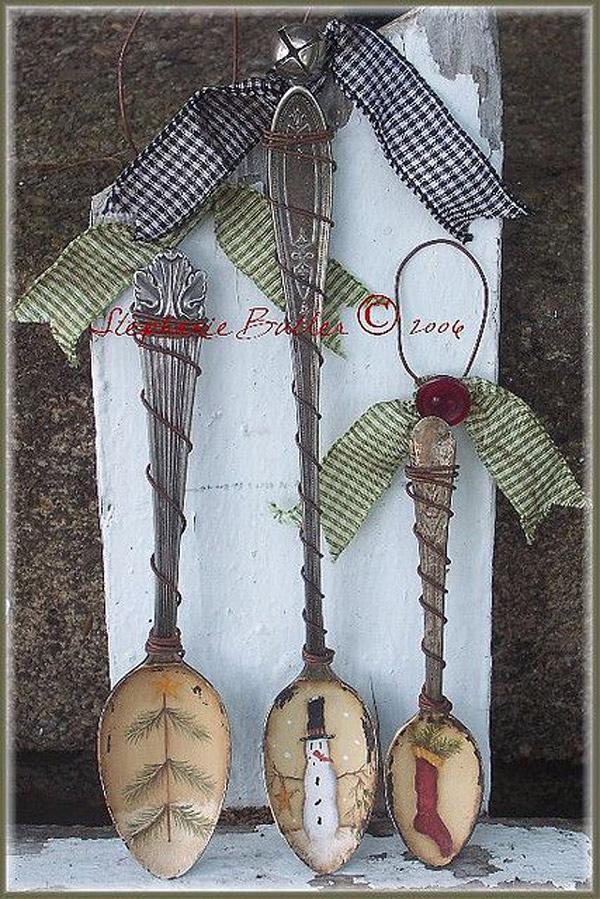 adornos navidad decoupage: cubiertos