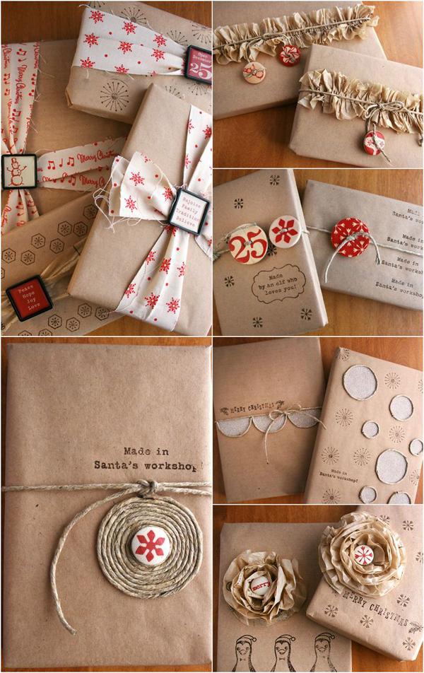 Como envolver regalos con cuerdas, cintas y papel kraft
