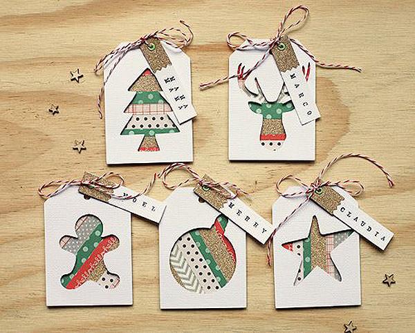 Etiquetas para los regalos de navidad decoradas con washi tape