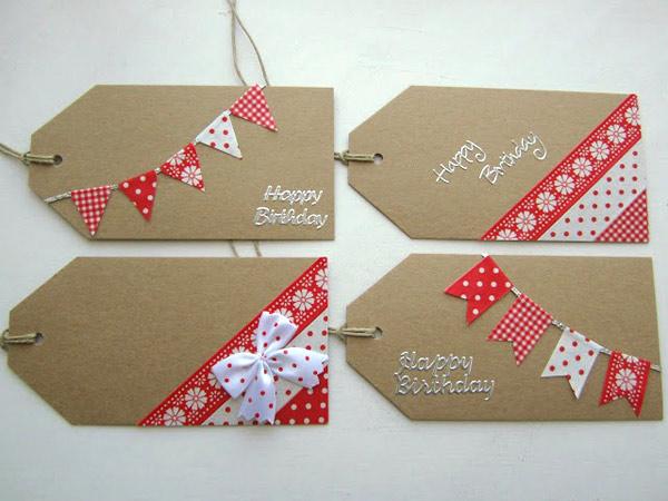 Etiquetas regalo decoradas guirnalda de washi tape