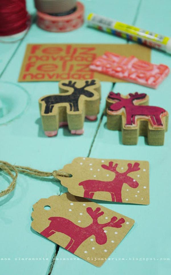 Etiquetas regalos navidad estampadas con sellos