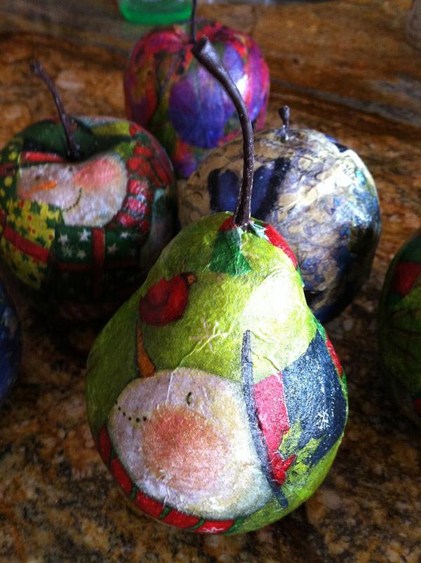 Frutas decoupage adornos navidad
