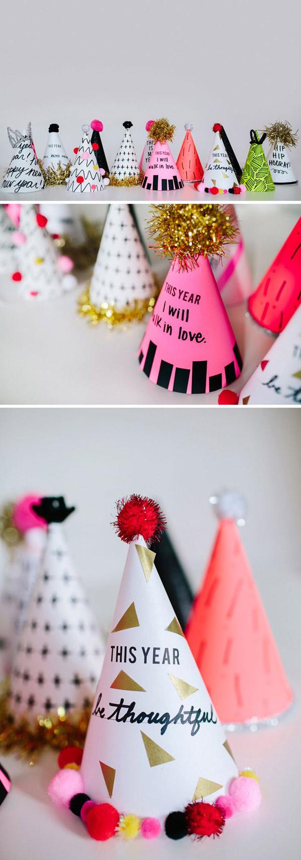Ideas DIY para celebrar el año nuevo: gorros de papel