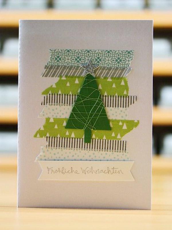 Tarjeta felicitacion navidad arbol washi tape