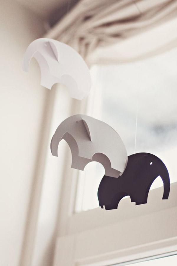 Moviles de papel para bebes: elefantes