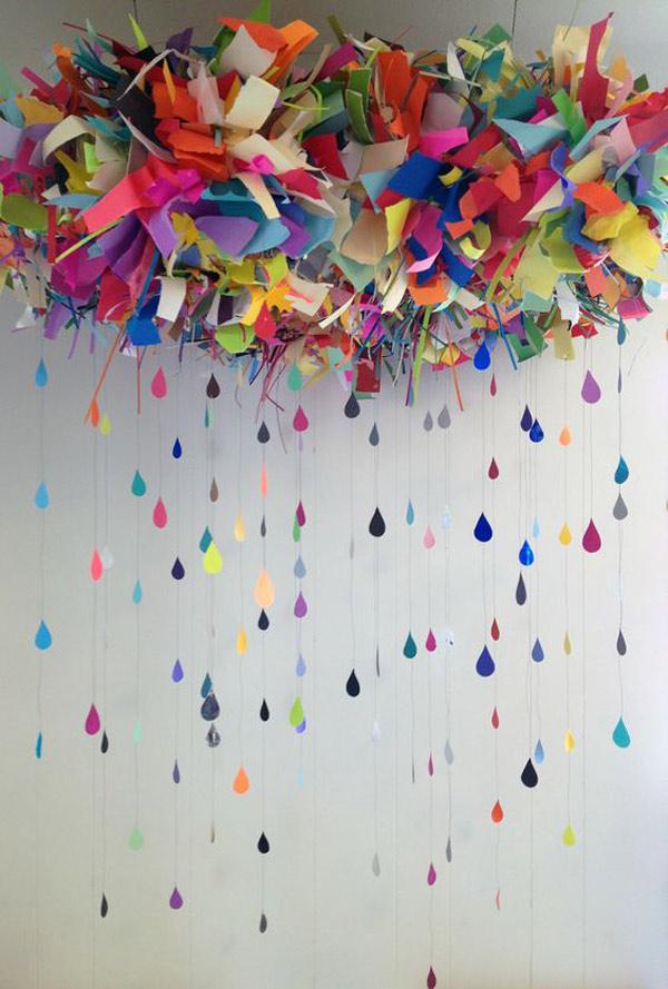 Moviles de papel de colores: gotas de lluvia