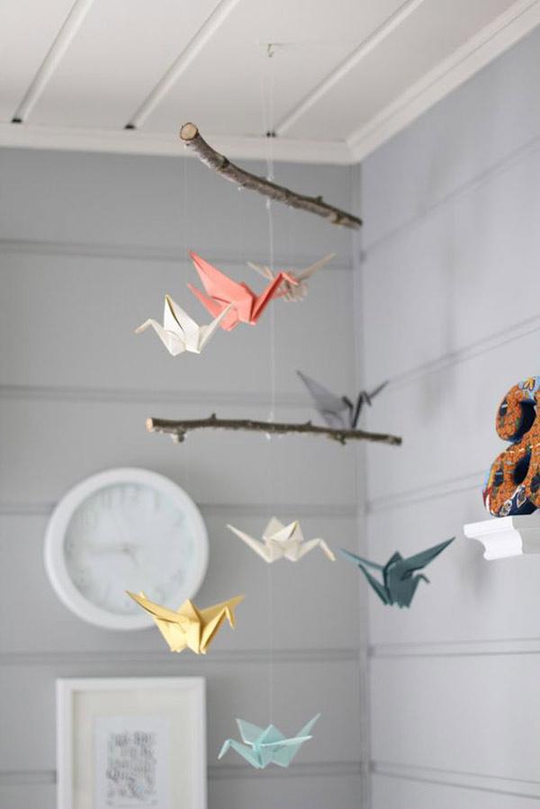 Moviles de papel: gruyas de origami