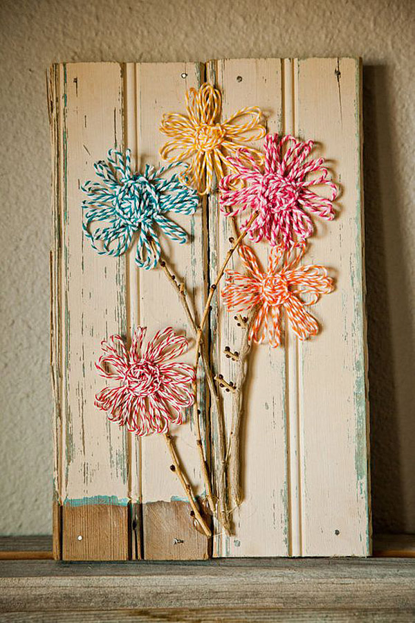 Manualidades con bakers twine: cuadro shabby chic