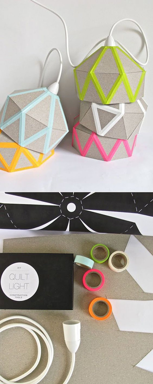 Proyectos con washi tape DIY: Lamparas carton