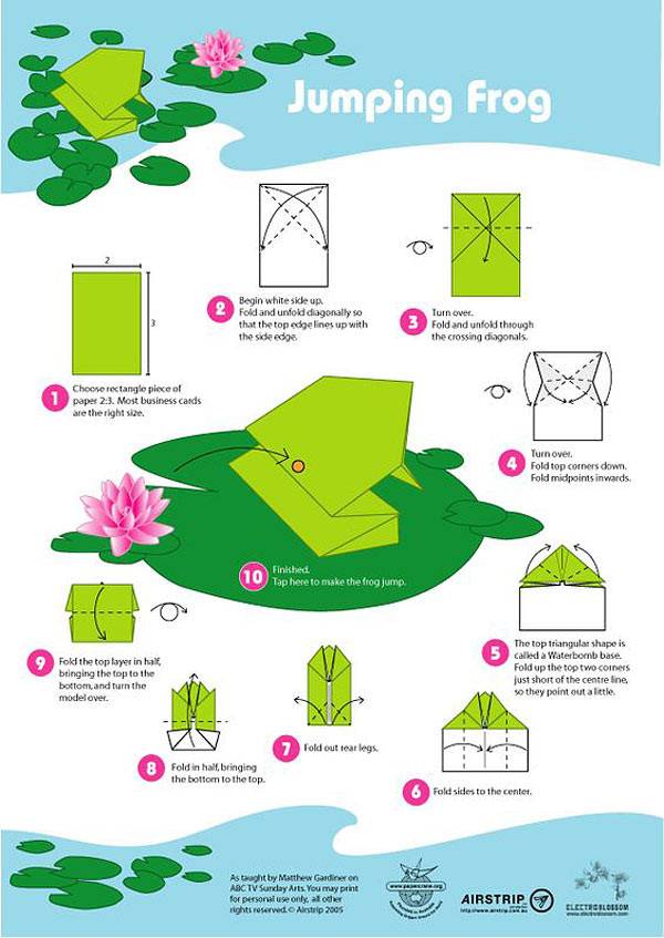 Rana saltarina de origami