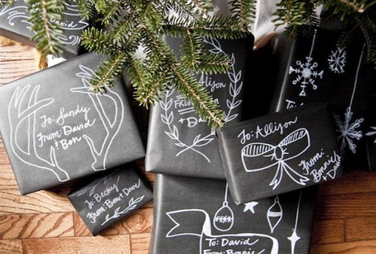 Envoltorios de navidad personalizados con efecto pizarra