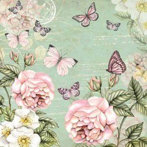 Papel decoupage con flores y mariposas