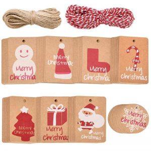 set etiquetas cuerdas navidad