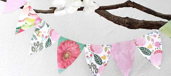 Hacer banderines de papel con flores