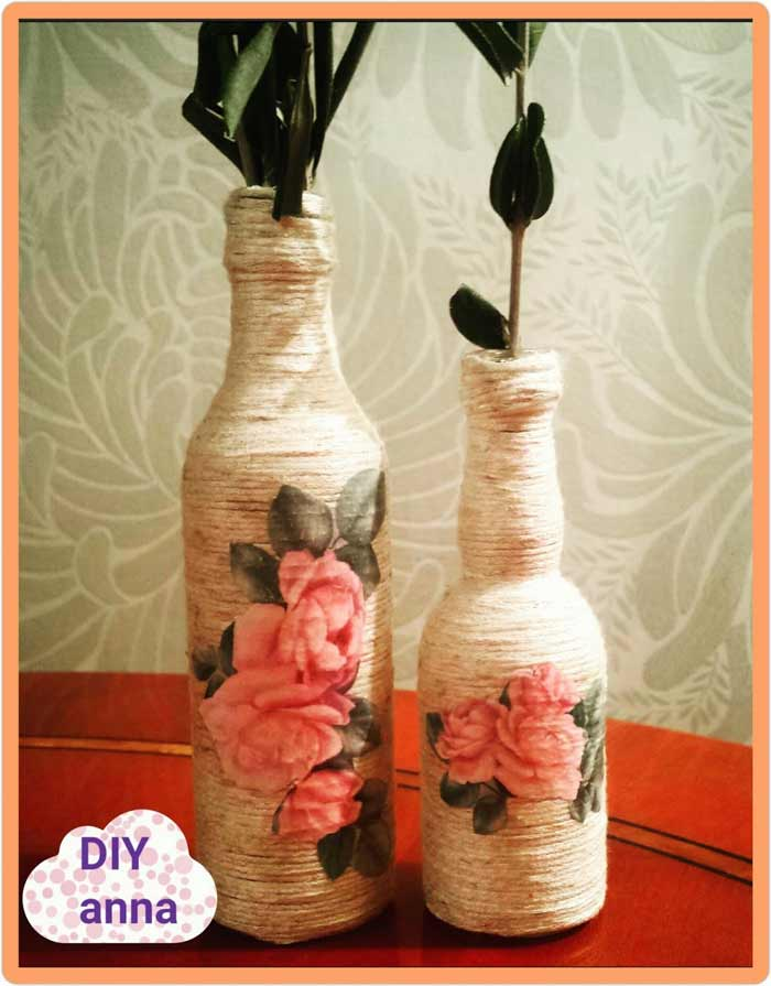 Decorar botellas con decoupage