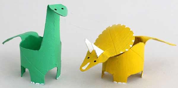Manualidades con dinosaurios rollos papel