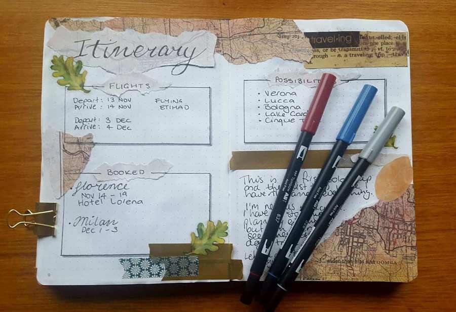 Como hacer un cuaderno de viajes. Itinerario