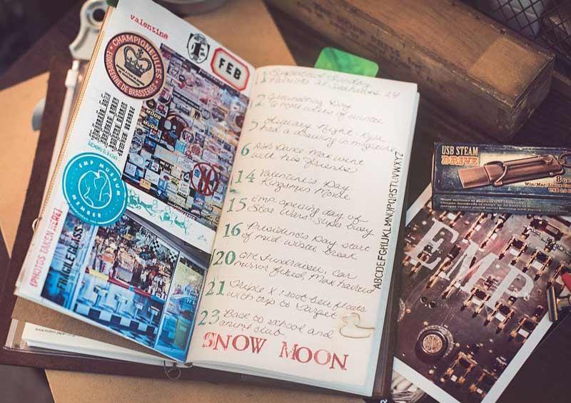 Cuaderno de viajes con pegatinas, sellos y entradas