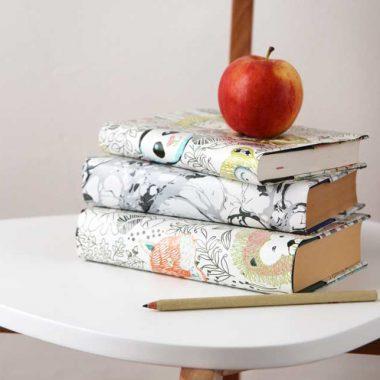 Libros forrados con papel de envolver