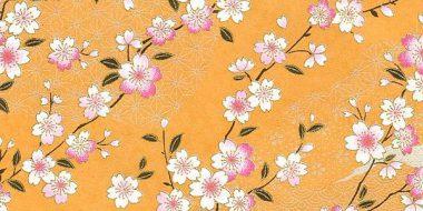 Papel japonés Yuzen: ramas de flores